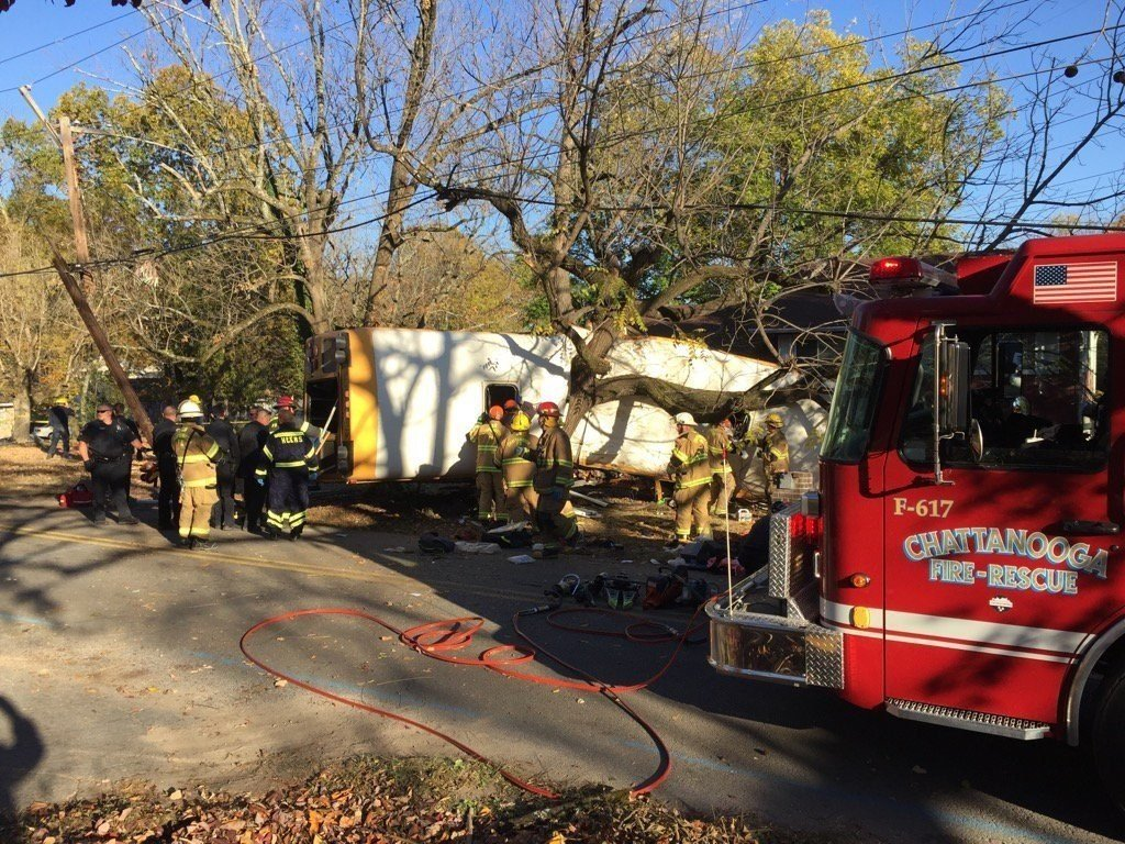 Caption: Medics rushed nearly two dozen people to hospitals in Chattanooga on Monday after a school bus crashed in the Tennessee city, officials said. The bus appears to have slammed into a tree and looks like it was split apart.